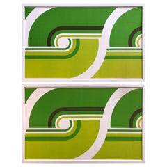 Diptych Vintage Panton Style Midcentury Mod Green Pop Art Textile Fabric Framed