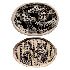 Diptych Wishing Wanders and Rain or Shine, Carved Porcelain Decorative Plates