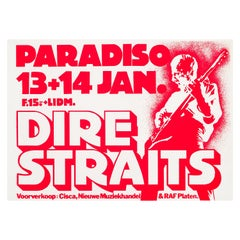Dire Straits Original Vintage Concert Poster for the Paradiso, Amsterdam, 1981