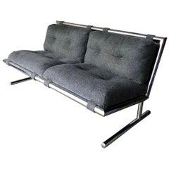 Directional Furniture Arthur Umanoff Midcentury Chrome Loveseat Settee Sofa