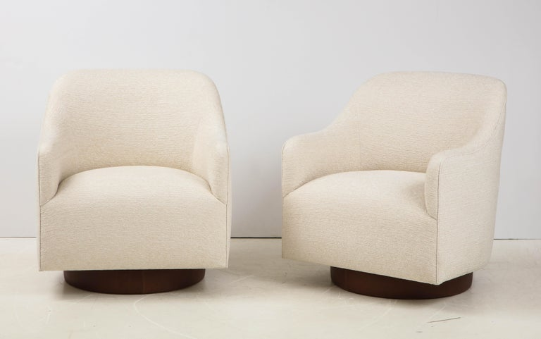 Milo Baughman/Directional Ivory Boucle Club Chairs 3