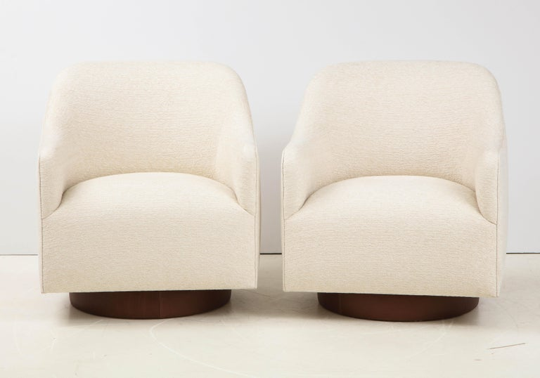 Milo Baughman/Directional Ivory Boucle Club Chairs 2