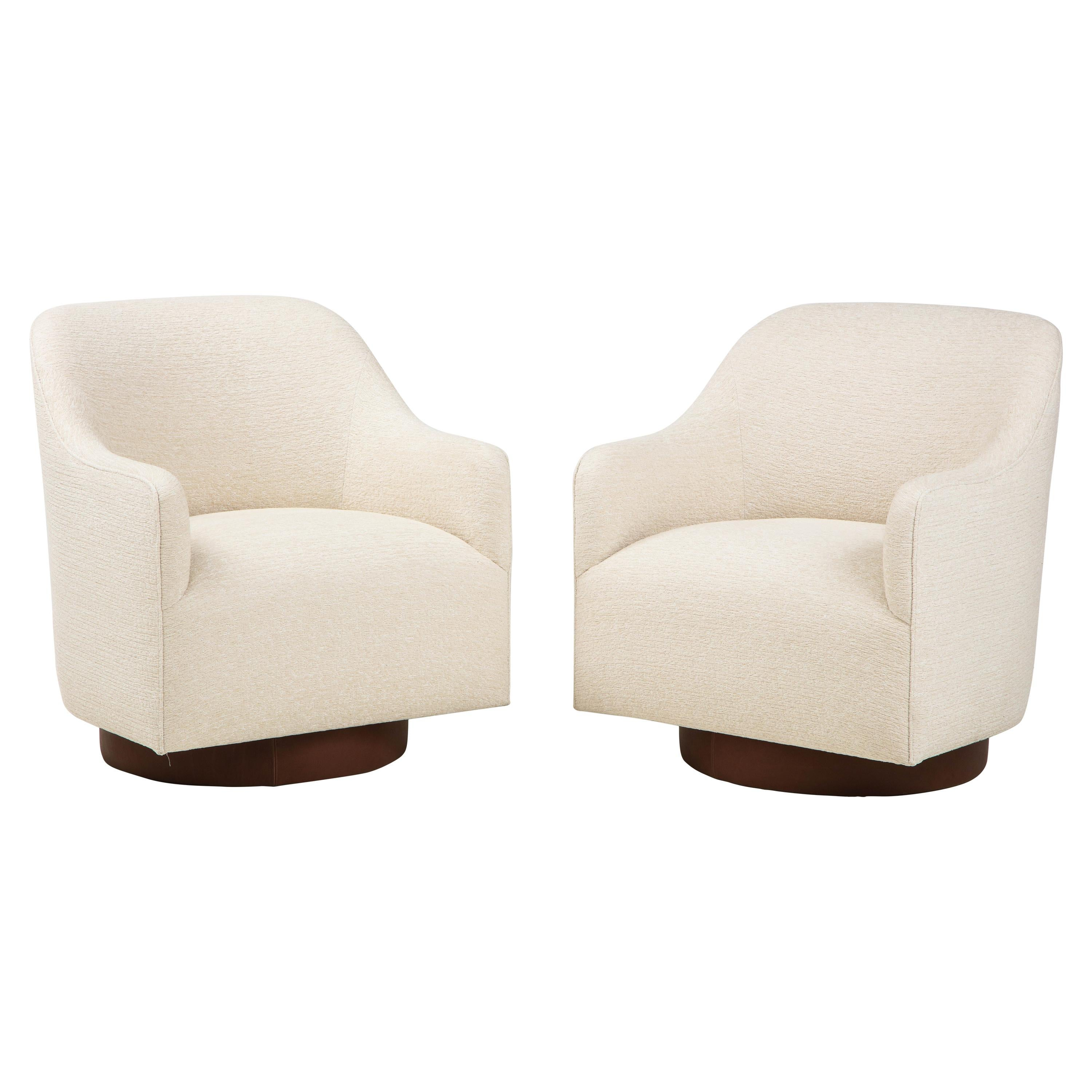 Milo Baughman/Directional Ivory Boucle Club Chairs