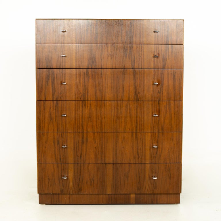Mid-Century Modern Directional Mid Century Walnut and Chrome Highboy Dresser For Sale