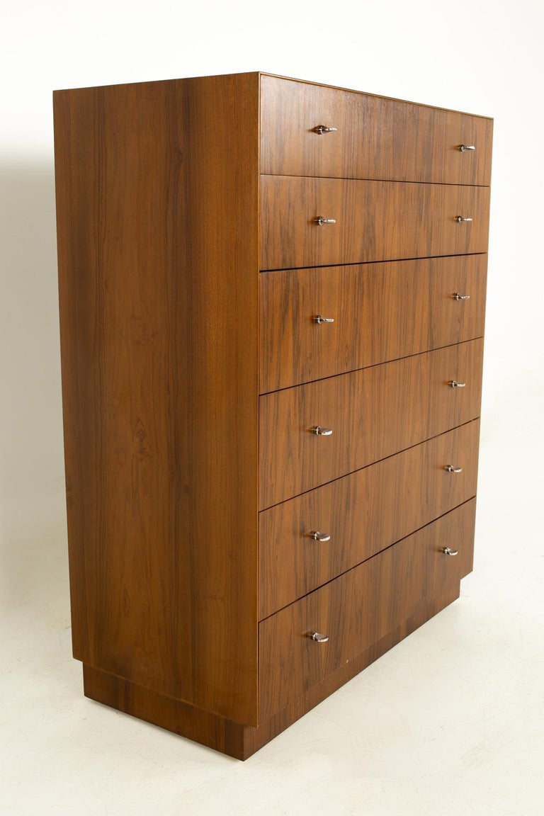 American Directional Mid Century Walnut and Chrome Highboy Dresser For Sale