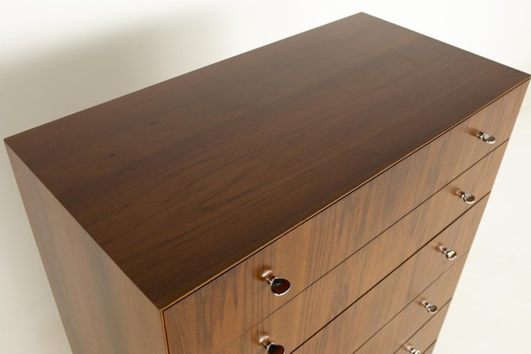 Directional Mid Century Walnut and Chrome Highboy Dresser For Sale 1