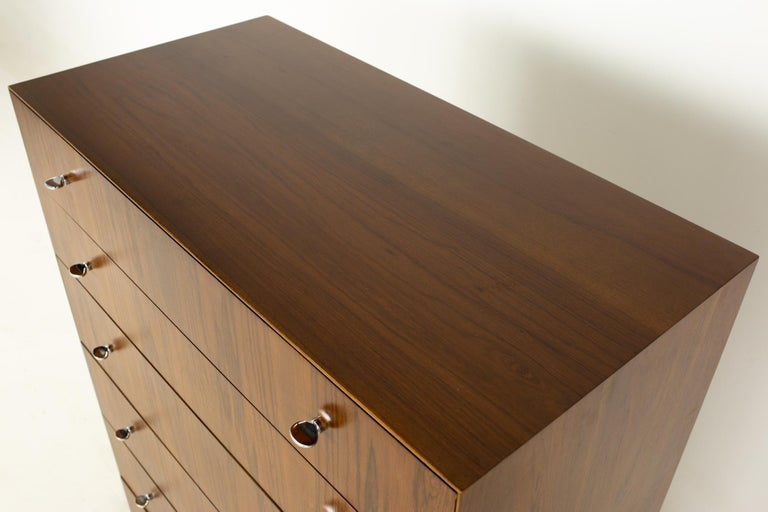 Directional Mid Century Walnut and Chrome Highboy Dresser For Sale 2