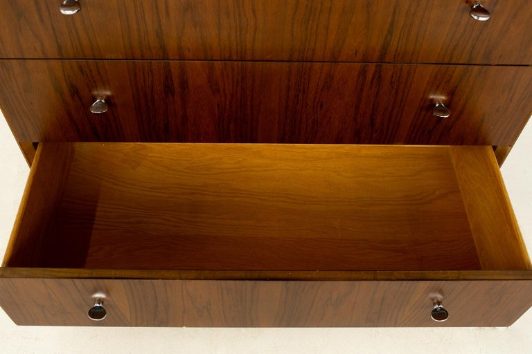 Directional Mid Century Walnut and Chrome Highboy Dresser For Sale 3