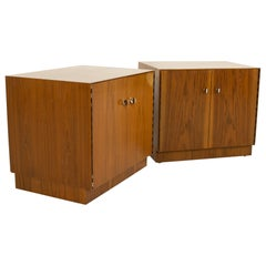 Directional Mid Century Walnut and Chrome Nightstands, Pair