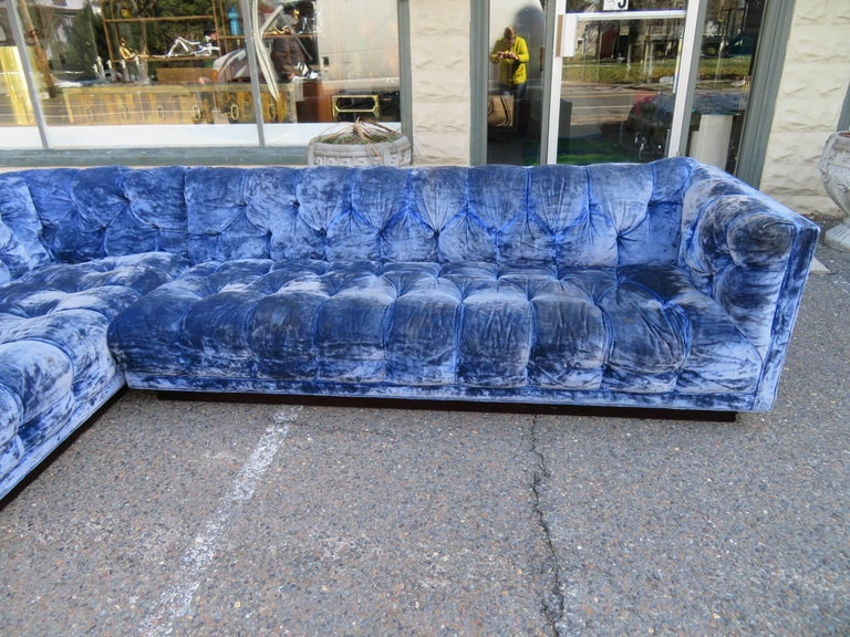 Gorgeous Milo Baughman for Directional two-piece tufted sectional sofa. Yes this piece will need to be re-upholstered but that's what you designers are looking for anyway-right?