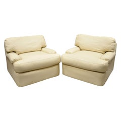 Directional Milo Baughman Swivel Beige Leather Club Lounge Armchairs, a Pair