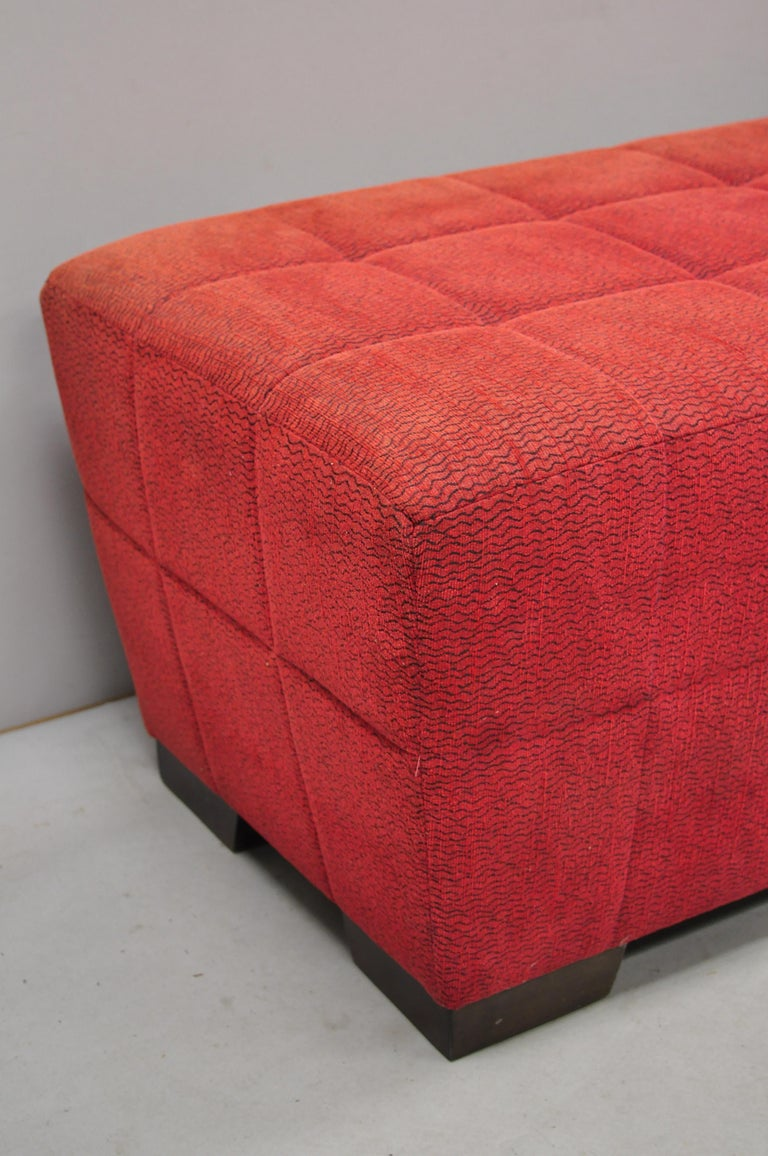 Directional Red Upholstered Large Modern Charles Bench Seat Ottoman In Good Condition For Sale In Philadelphia, PA