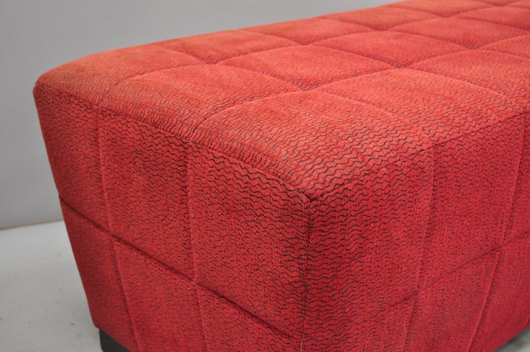 20th Century Directional Red Upholstered Large Modern Charles Bench Seat Ottoman For Sale