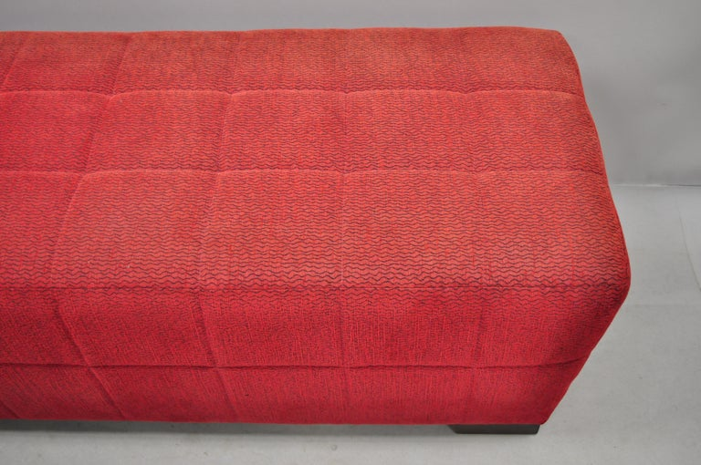 Fabric Directional Red Upholstered Large Modern Charles Bench Seat Ottoman For Sale