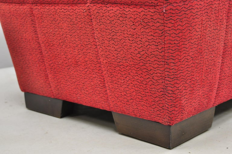 Directional Red Upholstered Large Modern Charles Bench Seat Ottoman For Sale 2