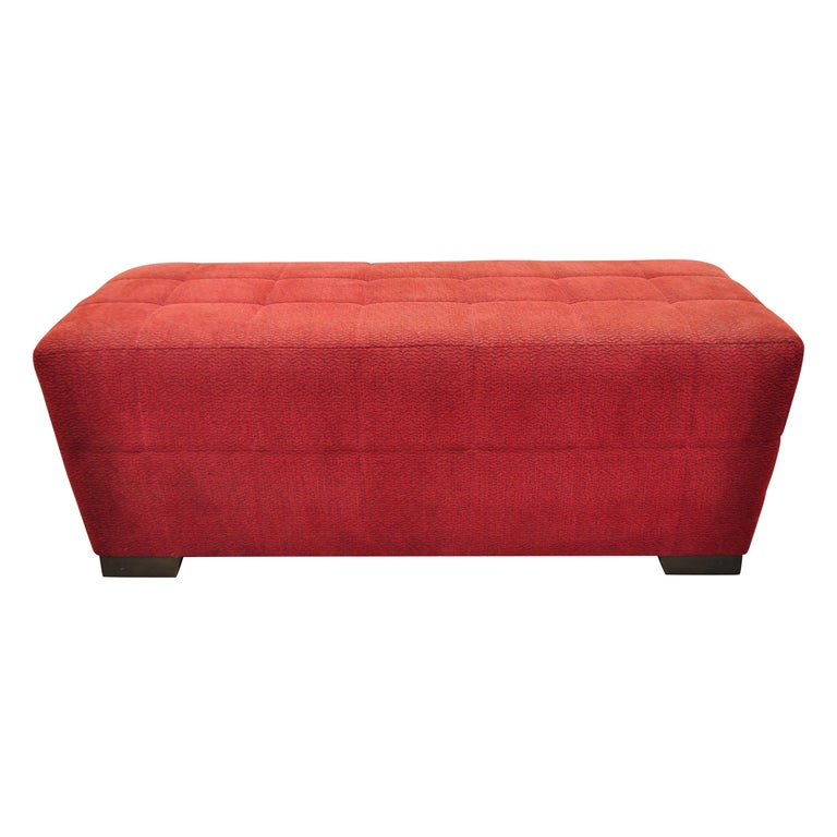 Directional Red Upholstered Large Modern Charles Bench Seat Ottoman For Sale