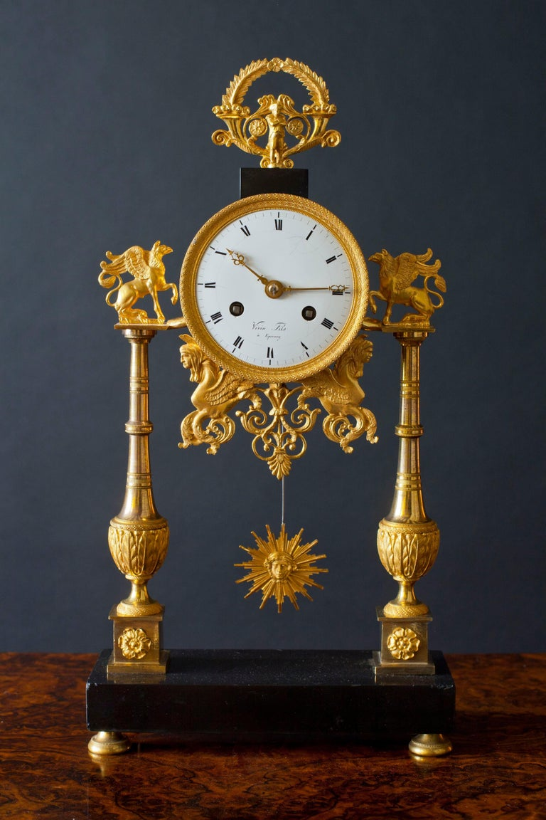 Directoire Black Marble And Ormolu French Pillar Clock For