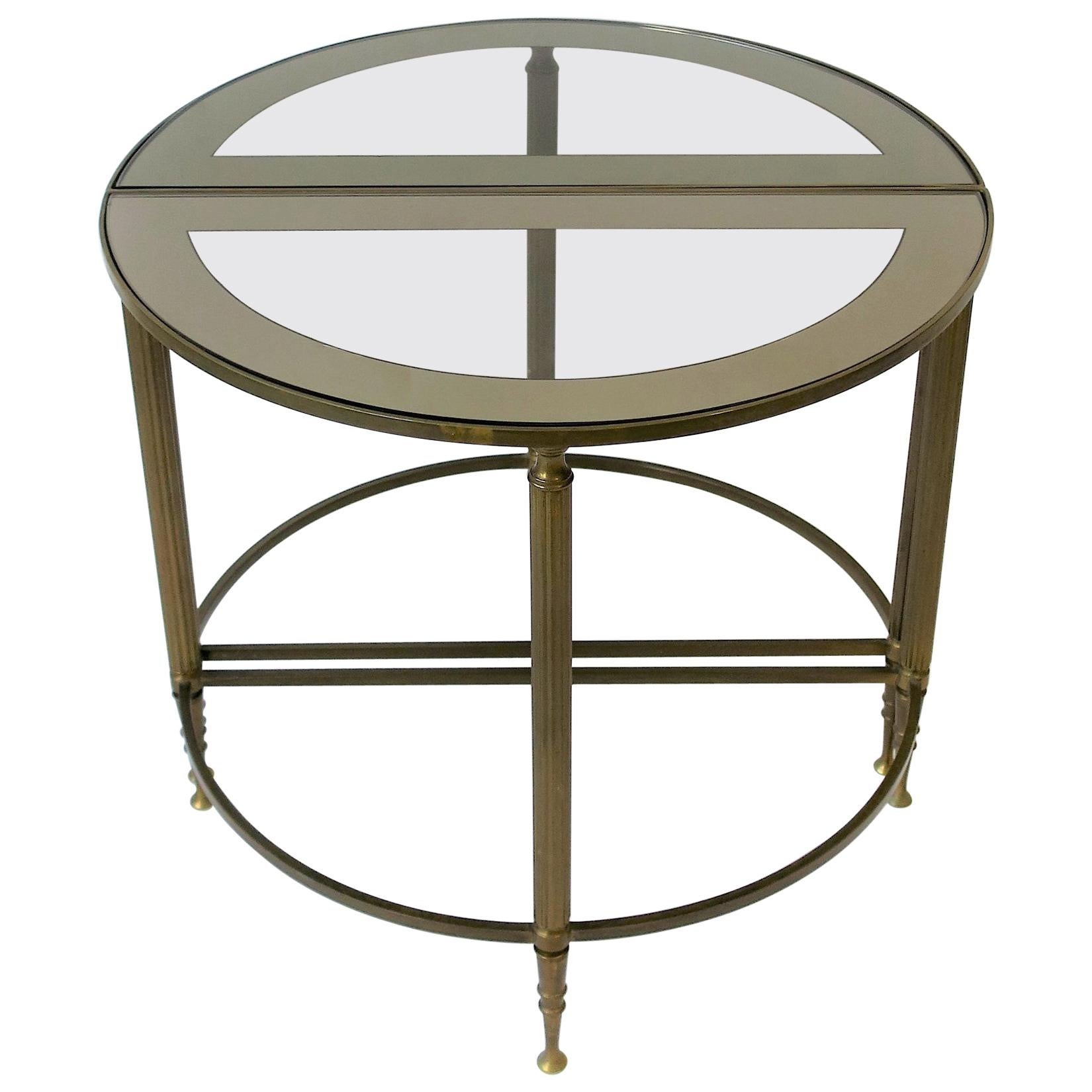 Brass and Glass Round Side or Drinks Table
