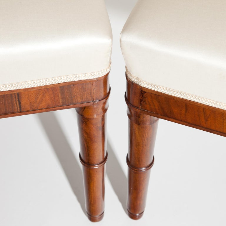 Walnut Directoire Chairs, France, 19th Century For Sale