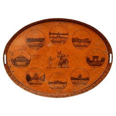 Directoire French Golden Ocher Color Tole Tray