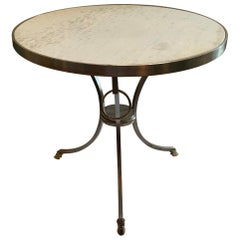 Directoire French Louis XVI Neoclassical Jansen Guéridon Brushed Nickel Table