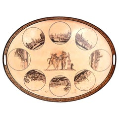 Directoire French Pinkish-Ocher Color Tole Tray