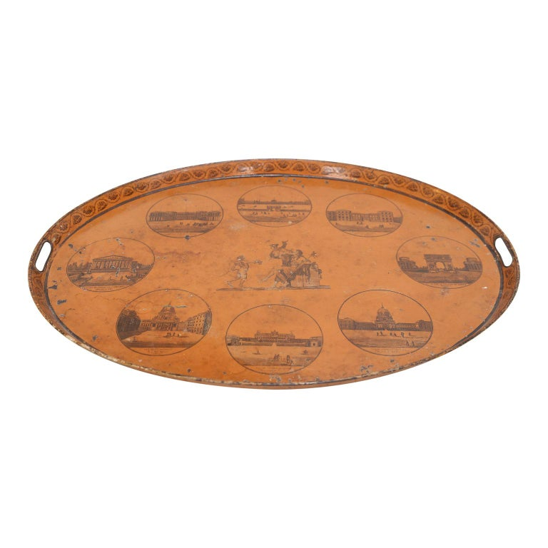 Directoire French tôle tray from the Directoire period. Original painted decoration, early 19th century.