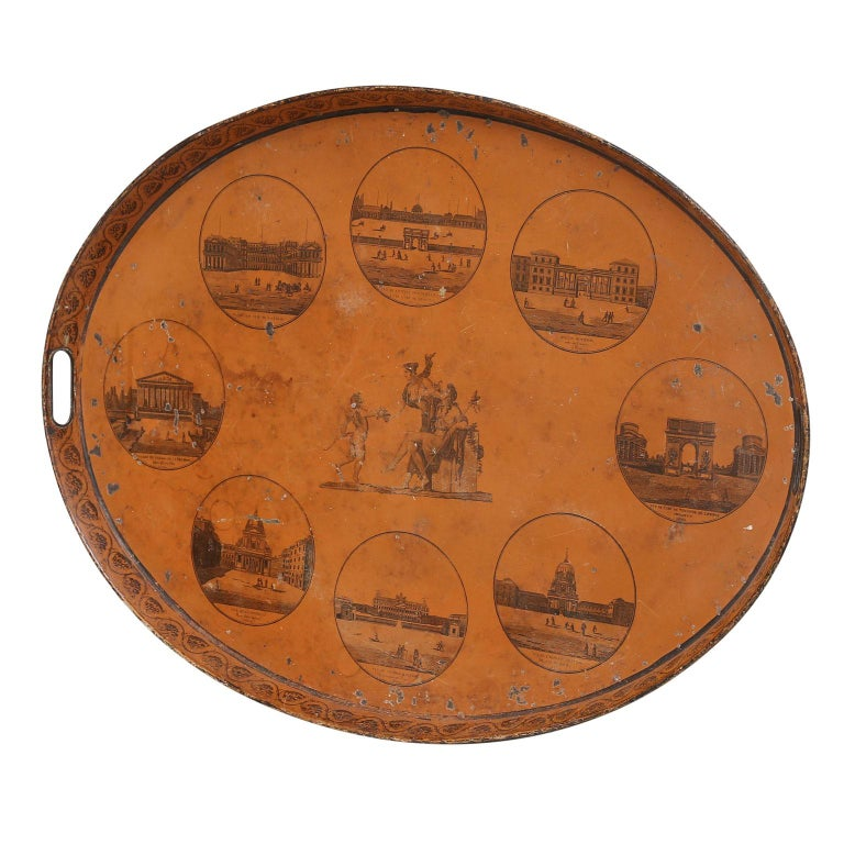 Hand-Painted Directoire French Tôle Tray For Sale