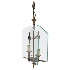 Directoire Gilded Bronze and Glass French Chandelier after Fontana Arte, 1930s