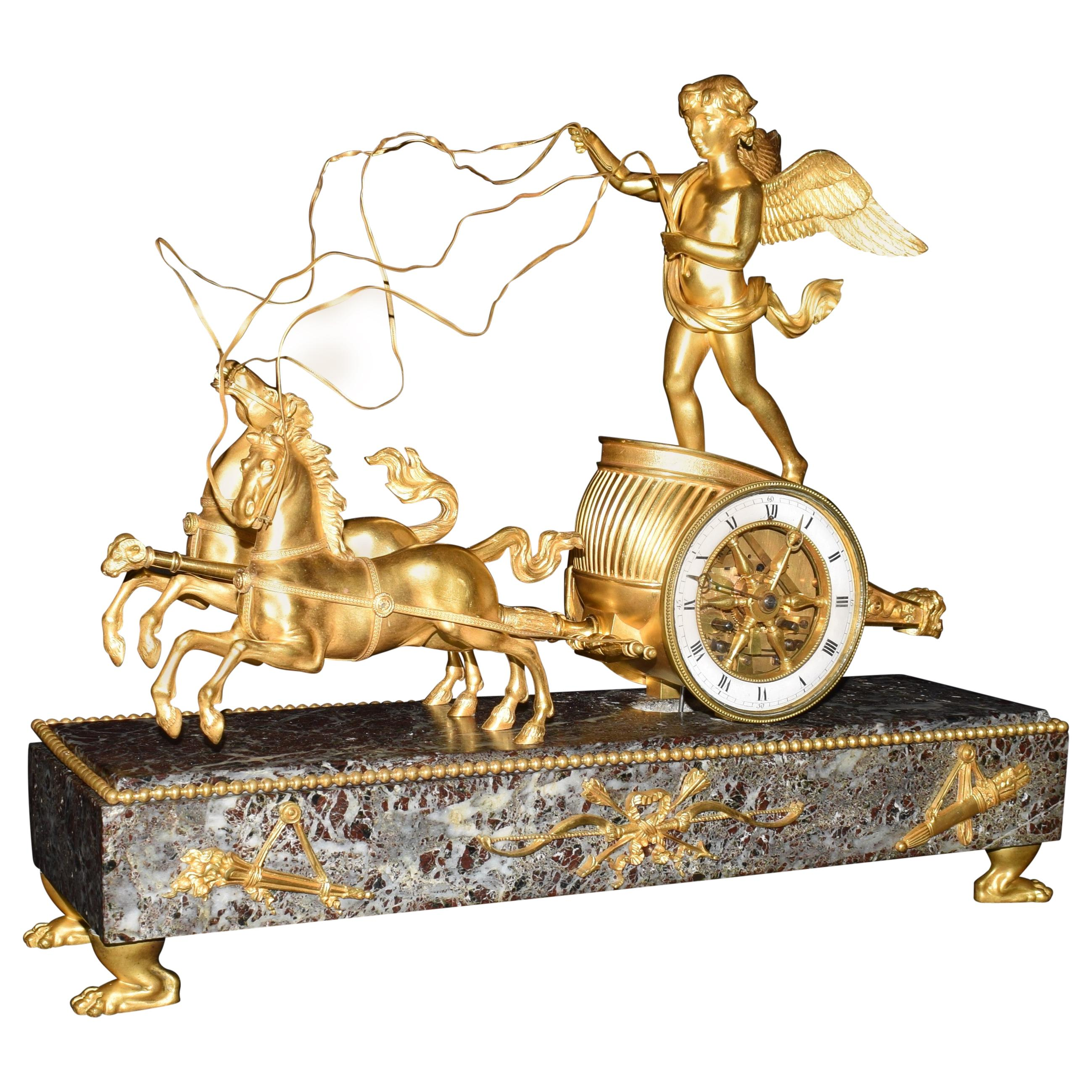 Directoire Gilt-Bronze Marble Mounted Chariot Clock, Late 19th Century