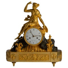 Directoire Glit and Patinated Bronze Mantel Clock