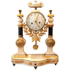 Directoire Marble and Ormolu French Mantle Clock