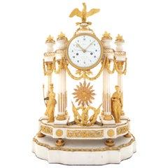 18th Century Directoire Ormolu and Carrara Marble Portico Mantel Clock by Lepine