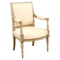Directoire Period Green Painted Arm Chair, France, circa 1790
