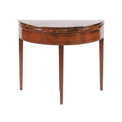 Directoire Style 1860s French Bookmarked Walnut Demilune Table with Leather Top