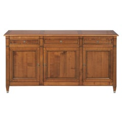 Directoire Style 3 Doors Sideboard in Cherry, 100% Made in France