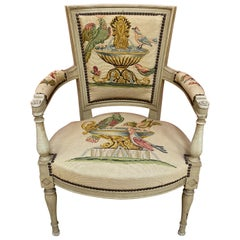 Directoire Style Chair with Tapestry Decorated with Birds and Butterflies