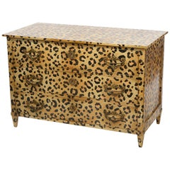 Directoire Style Chest of Drawers with Leopard Pattern Hand Painted