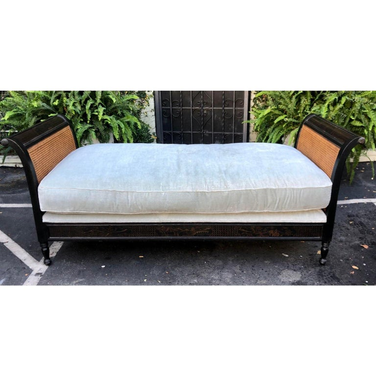 Italian Directoire Style Chinoiserie Black & Gold Chaise Lounge Double Cane Daybed Sofa For Sale