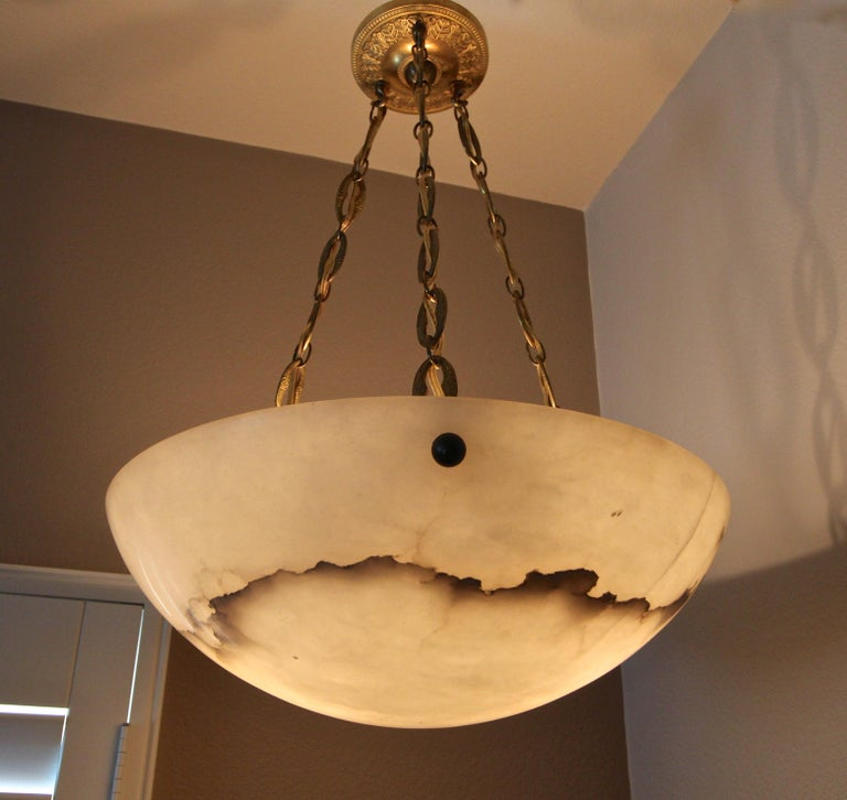 Directoire Style French Alabaster Chandelier Pendant Light For Sale 6