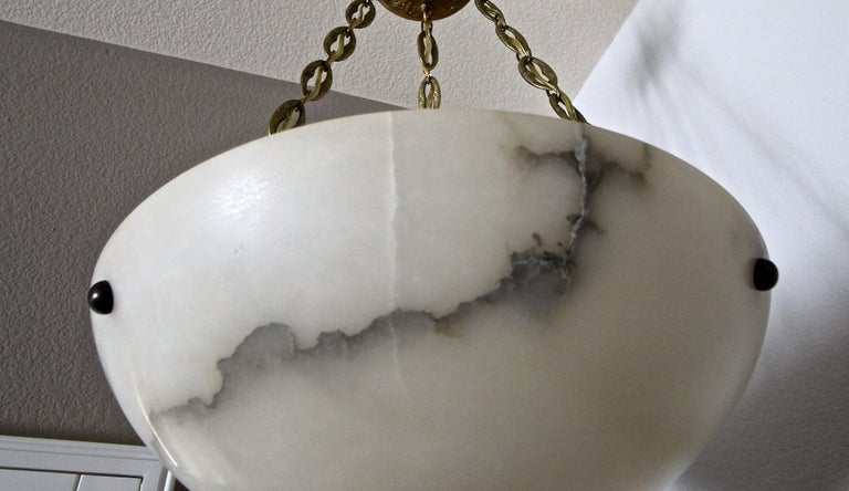Directoire Style French Alabaster Chandelier Pendant Light For Sale 9