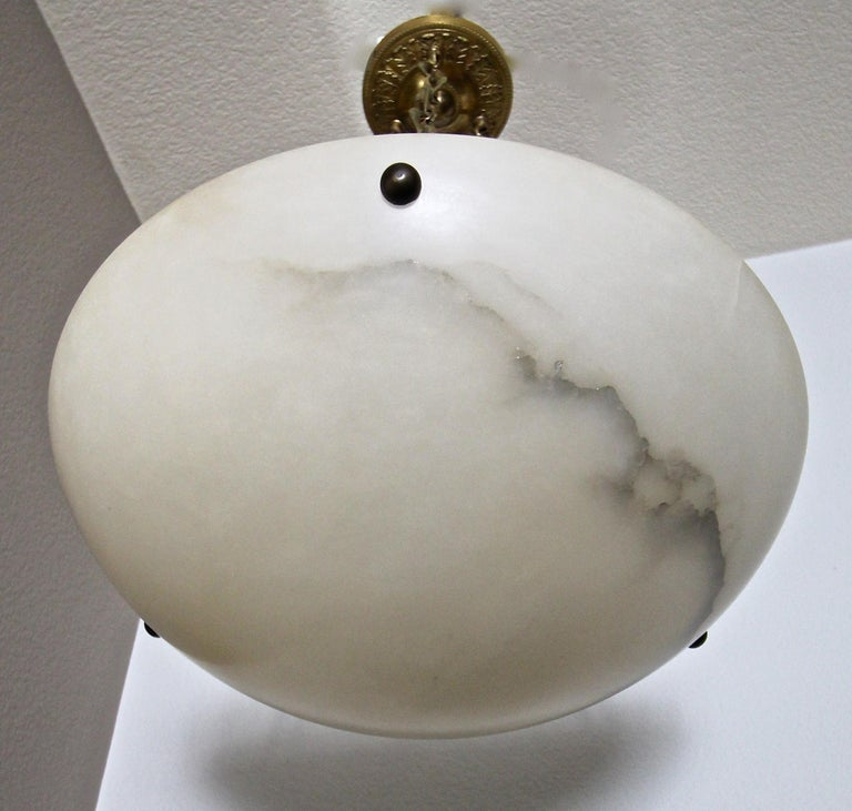 Bronze Directoire Style French Alabaster Chandelier Pendant Light For Sale