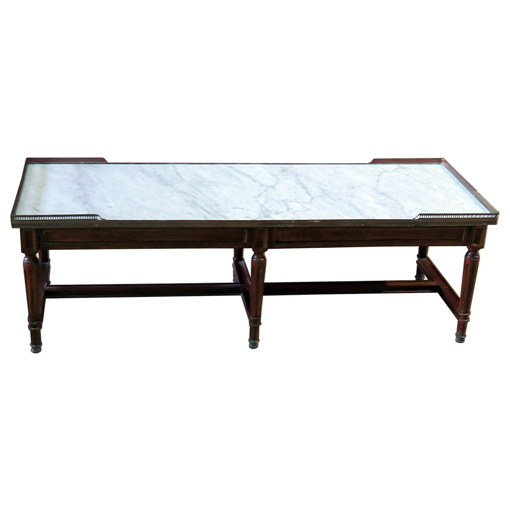 Maison Jansen Style Brass Inlaid Directoire Style Marble Top Coffee Table