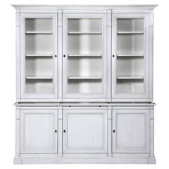 Directoire Style Painted Bookcase in French Oak, white Stain, pearl grey lacquer