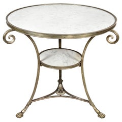 Directoire Style Silvered Bronze and Marble Gueridon