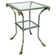 Directoire Style Steel and Brass Side Table