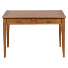 French Directoire Style Writing Table, Desk in Cherrywood, 2 drawers