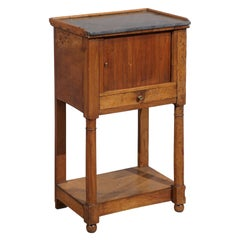 Directoire Walnut Chevet with Tambour Door and Gray Marble Top, 19th Century