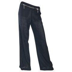 Dirk Bikkembergs black linen zipper pants