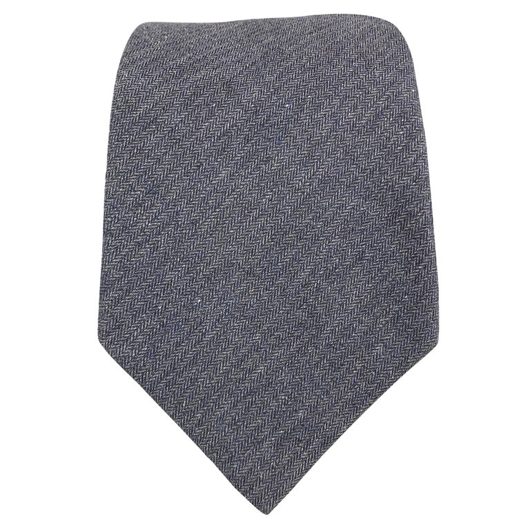 DIRK BIKKEMBERGS Navy Cotton Herringbone Tie For Sale